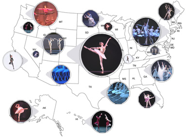 us map of dancers online ballet directory