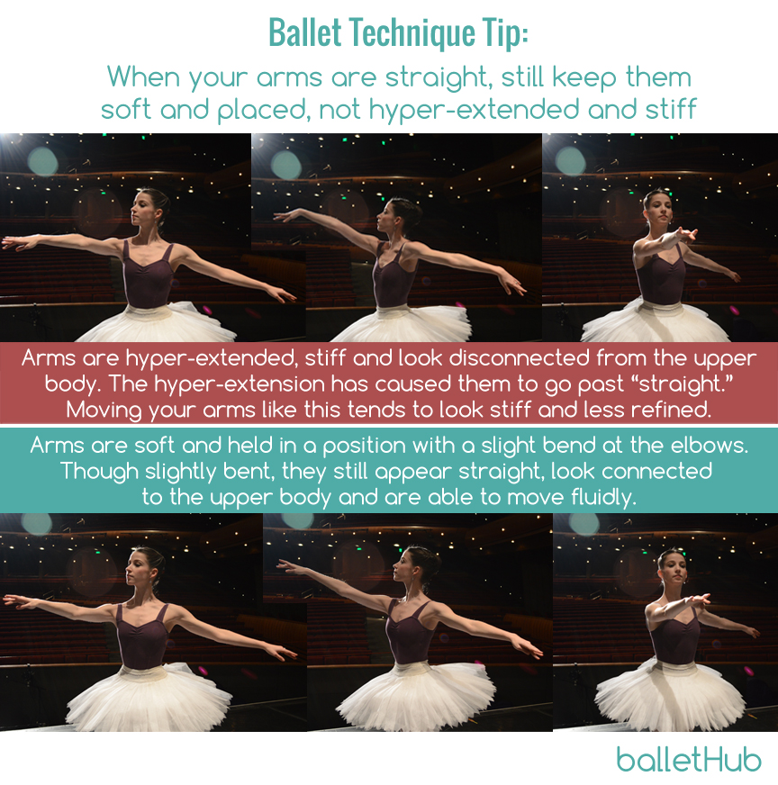 soft straight arms in ballet not hyperextended