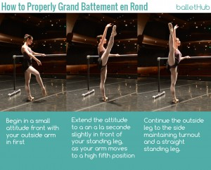 how to properly grand battement en rond in ballet class barre