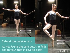 Developpe Side in ballet techinque, go through cou-de-pied