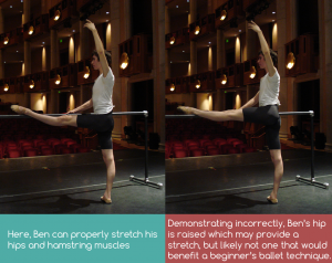 Stretching at the Barre, correctly and incorrectly