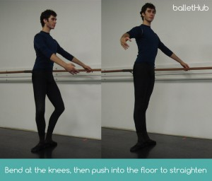 plie bend at knees and push into the floor