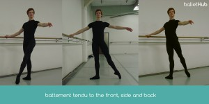 Tendu front side and back in ballet