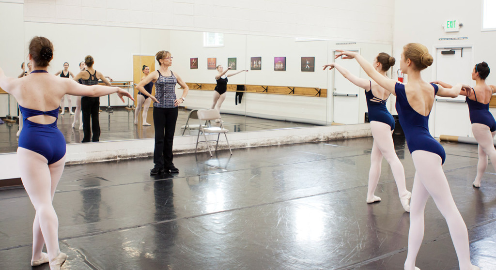 advanced ballet students in class